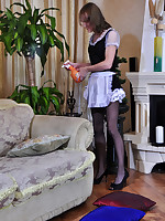 Hot sissified maid gives head like a woman and parts her nyloned ass cheeks