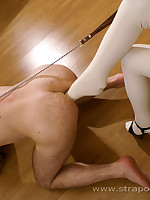 Bossy latex-loving ho slams her little foot into shy queer hunk's asshole