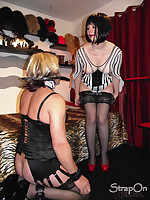 This filthy TGirl gets her cock punished by Mistress Helga